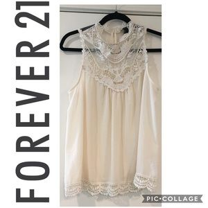 Forever21 Sleeveless boho tank lace and embroidery